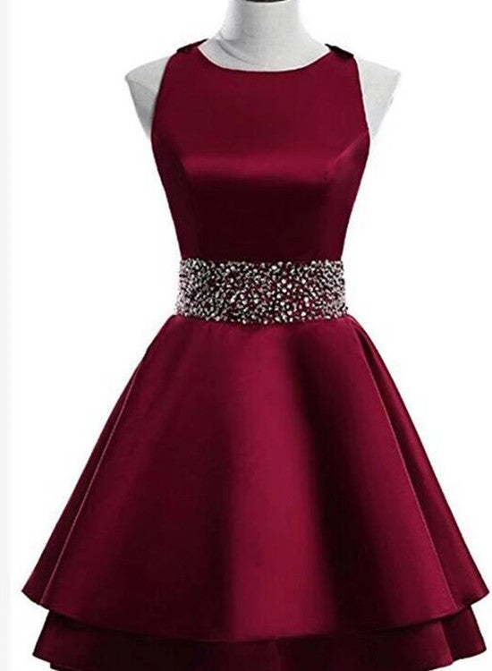 Lovely Dark Red Satin Layers Short Homecoming Dress, Cute Junior Prom Dress