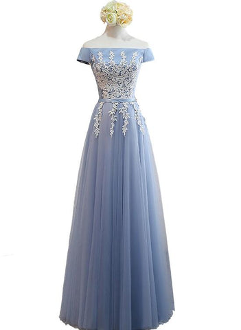 Beautiful Blue Off Shoulder A-line Long Prom Dress 2019, Blue Bridesmaid Dresses 2019