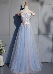 Beautiful Blue and Pink Tulle Sweetheart Prom Dress, Long Junior Prom Dress
