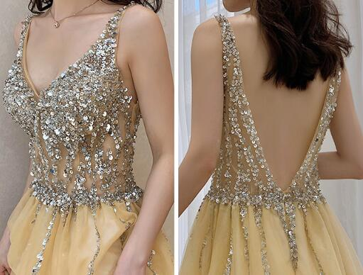 Sexy Sparkle Champagne Tulle Prom Dress with Beadings, V Back Party Dress
