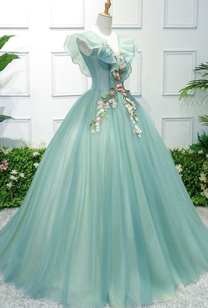 Gorgeous Green Long Tulle with Lace Applique Sweet 16 Dress, Green Formal Gown