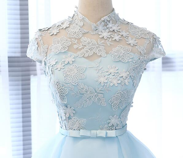 Lovely Blue Knee Length Party Dress, Blue Short Prom Dress