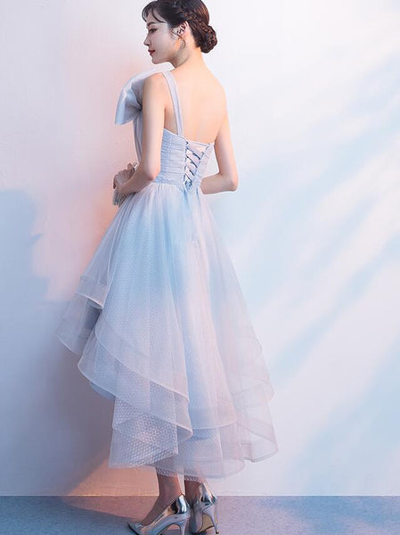 Grey Tulle One Shoulder High Low Party Dress, Grey Homecoming Dress with Bow