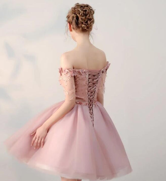 Cute Pink Tulle Homecoming Dresses, Short Pearl Pink Off-the-shoulder Prom Dress