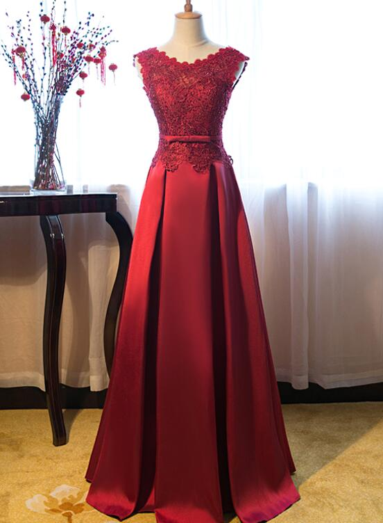 Beautiful Dark Red Lace Long Junior Prom Dress, Lace Top Party Dress