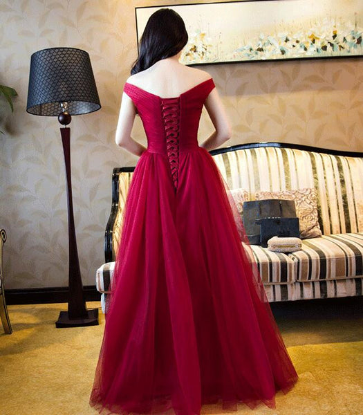 Beautiful Long Sweetheart Off Shoulder Party Dress, Tulle Prom Dress