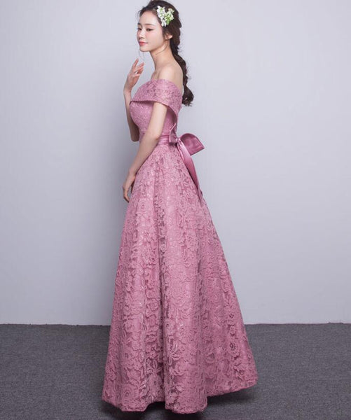 Lovely Off Shoulder Lace Long Prom Dress, Pink Wedding Party Dress with Bow