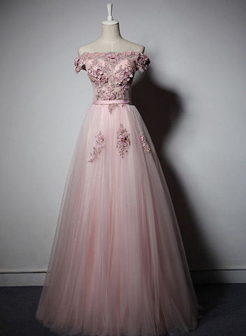 Beauitufl Pink Long Formal Dress, Off Shoulder Tulle and Lace Bridesmaid Dress