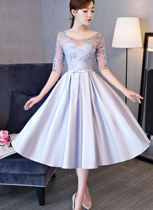 grey satin homecoming dress