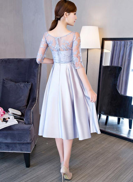 Beautiful Grey Tea Length Bridesmaid Dress, 1/2 Sleeves Party Dresses