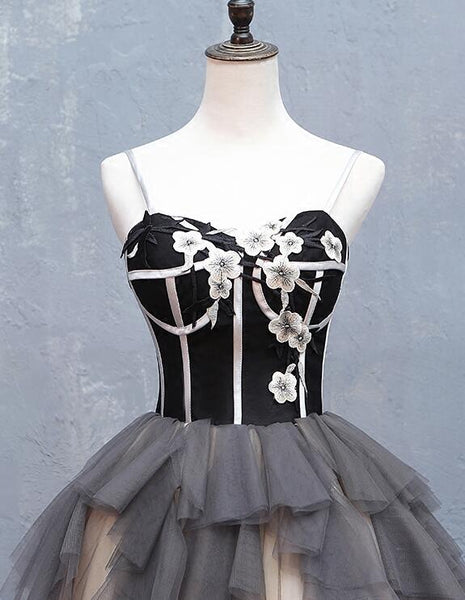 Cute Black and Tulle Straps Short Party Dress, New Homecoming Dress