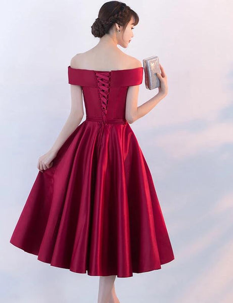 Beautiful Dark Red Satin Short Homecoming Dress, Off the Shoulder Party Dress