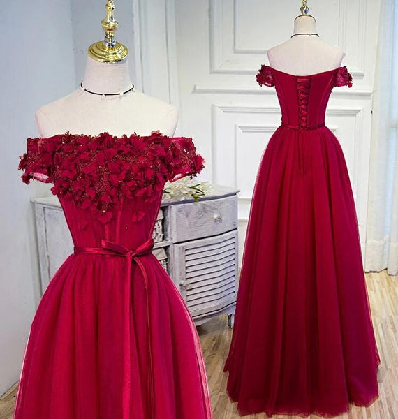 Beautiful Long Party Dress, Off Shoulder Dark Red Prom Dress 2020