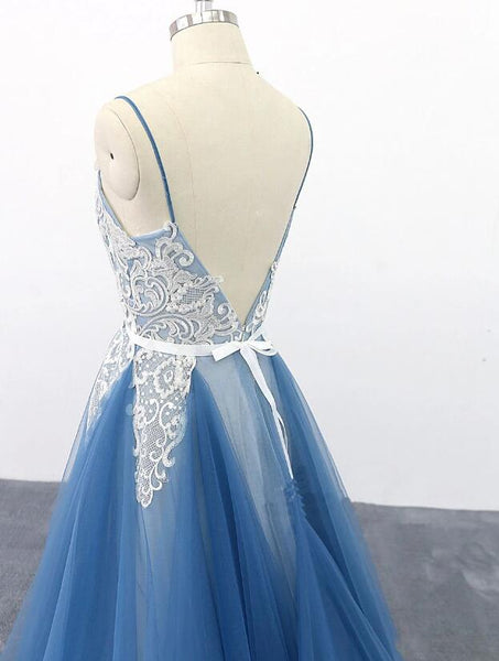 Elegant Blue Straps Long Tulle with Lace Backless Evening Gown, Long Formal Dress