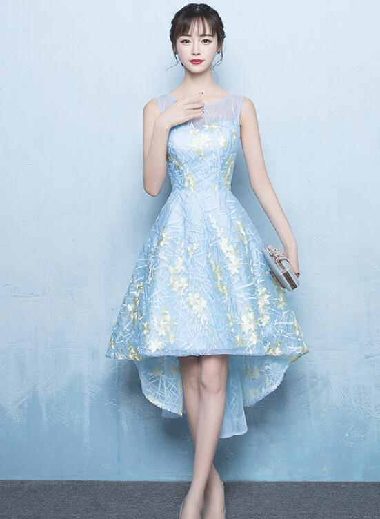 Cute Simple High Low Light Blue Lace Dress, Lovely Homecoming Dress