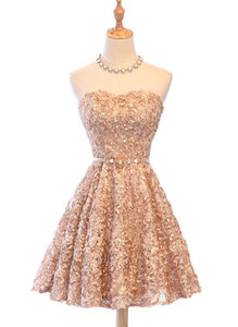 champagne lace short party dress