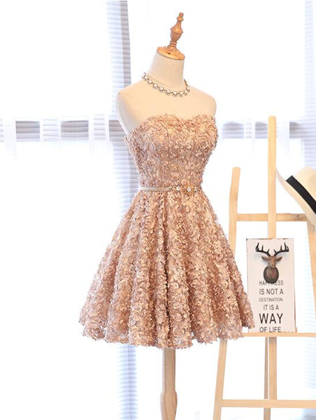 Beautiful Champange Knee Length Sweetheart Party Dress, Cute Short Prom Dress with Bow