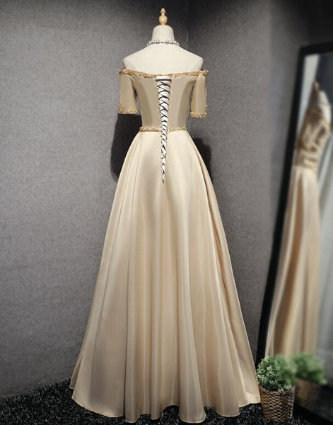 Beautiful Champagne Satin Long Beaded Prom Dress, Junior Prom Dress 2020
