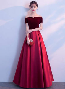 wine red long party dress