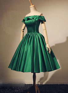 green stain off shoulder party dress