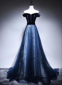 blue tulle long prom dress