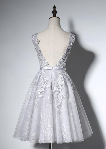 Lovely Grey Lace Tulle Round Neckline Short Homecoming Dress, Grey Bridesmaid Dress