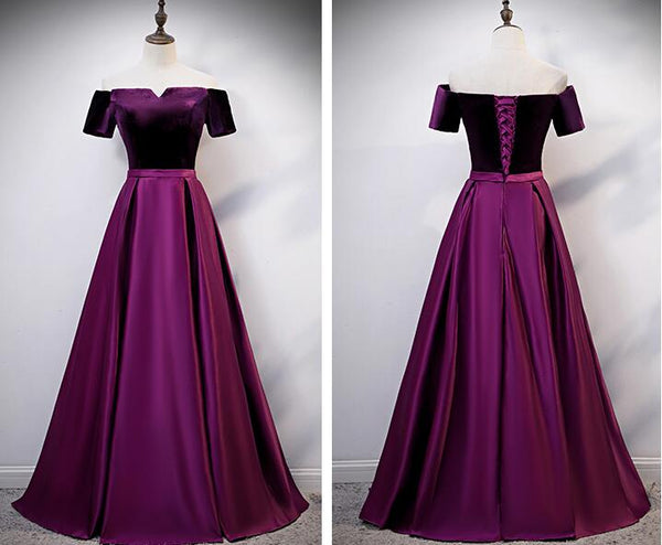 Beautiful Velvet Long Party Dress, Satin Off Shoulder Prom Dress