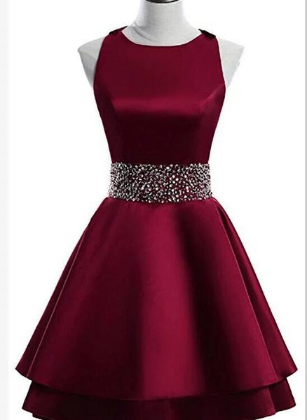 beautiful dark red satin party dress