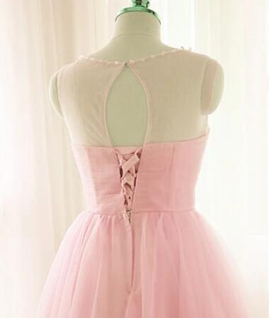 Lovely Round Neckline Pink Short Homecoming Dress, Knee Length Prom Dress