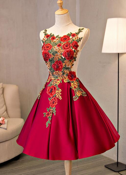 Beautiful Red Lace Applique Flower Homecoming Dress, Red Prom Dress