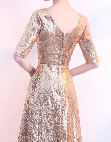 Pretty Gold Sequins Long V-neckline Bridesmaid Dress, Floor Length Party Dress