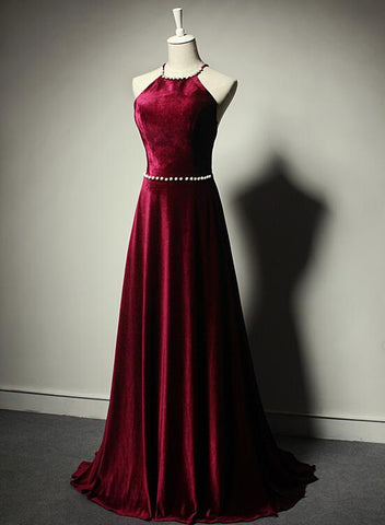 wine red velvet prom dress 2020