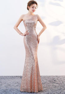 Beautiful One Shoulder Mermaid Sequins Party Dress, Long Bridesmaid Dress