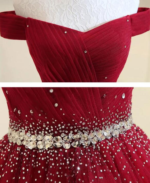 Beautiful Wine Red Long Beaded Tulle Prom Dress, A-line Off Shoulder Party Dress