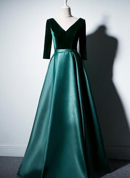 green velvet and satin party dress 2020