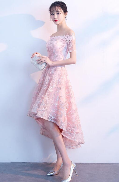 Fashionable High Low Pink Party Dress, Off Shoulder Prom Dress