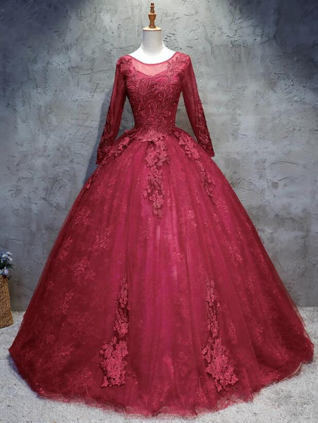 wine red long sleeves prom dress