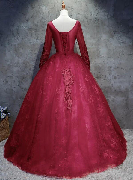 Beautiful Scoop Long Sleeves Prom Dresses, Lace Long Prom Dress