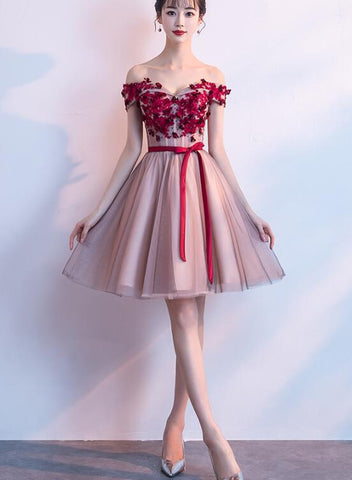 pink tulle short party dress