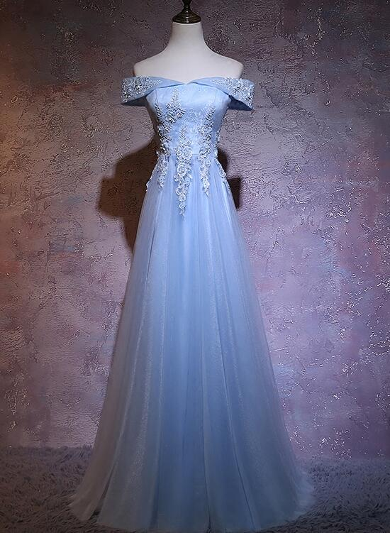 Charming Blue Elegant Tulle Party Dress with Lace Applique, Long Prom Dress