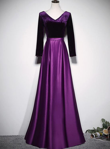 purple satin long party dress