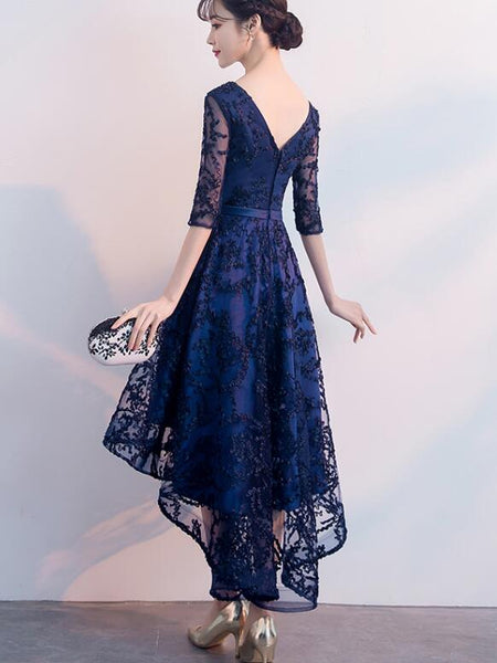 Beautiful Navy Blue High Low Party Dress, Lace Bridesmaid Dress