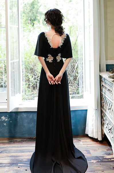 Sexy Black Spandex  Long Formal Gown with Gold Applique, Black Prom Dress