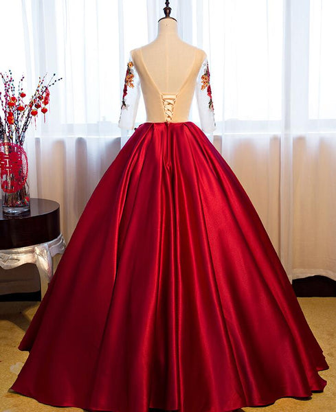 Beautiful Dark Red Round Neckline Party Dress with Sleeves, Sweet 16 Dresses