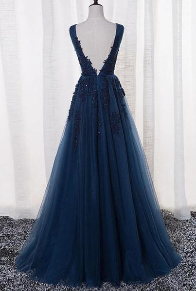 Blue Long A-line Bridesmaid Dress, Dark Blue Tulle Party Dress