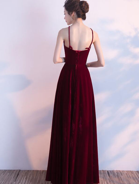 Wine Red Halter Beaded Long Party Dress, Velvet Bridesmaid Dress