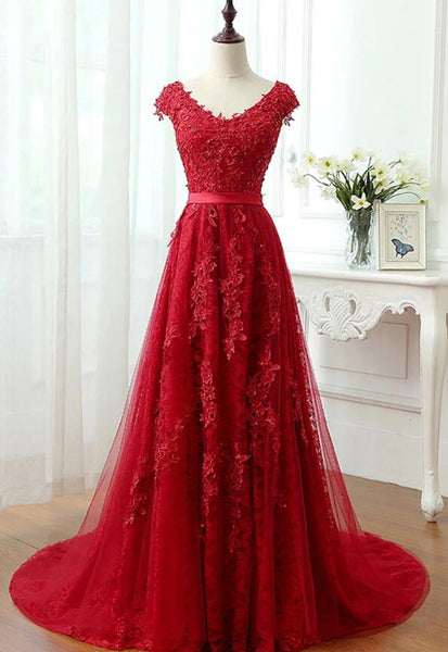 Charming Red Tulle with Lace Applique Prom Dress with Train, Long Evening Gown