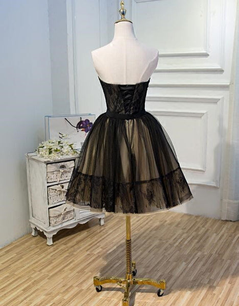 Black Tulle and Champagne Short Party Dress, Short Formal Dress 2020