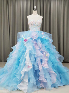 blue organza party dress 2020
