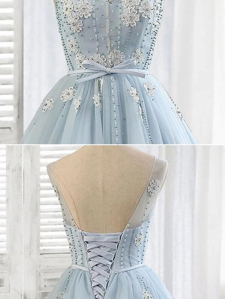 Short Tulle Round Neckline Beaded Party Dress, Blue Homecoming Dress